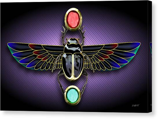 Egyptian Art Canvas Print - Egyptian Scarab Beetle by John Wills