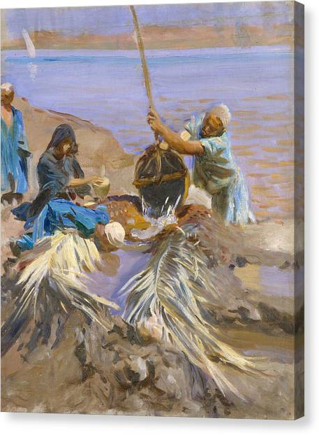 The Nile Canvas Print - Egyptians Raising Water From The Nile by John Singer Sargent