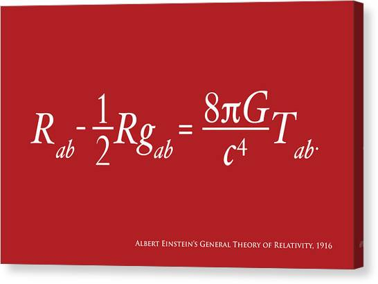 Energy Canvas Print - Einstein Theory Of Relativity by Michael Tompsett