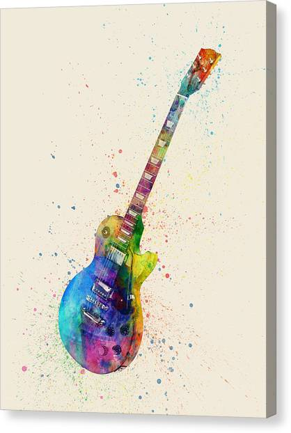 Musical Instruments Canvas Print - Electric Guitar Abstract Watercolor by Michael Tompsett
