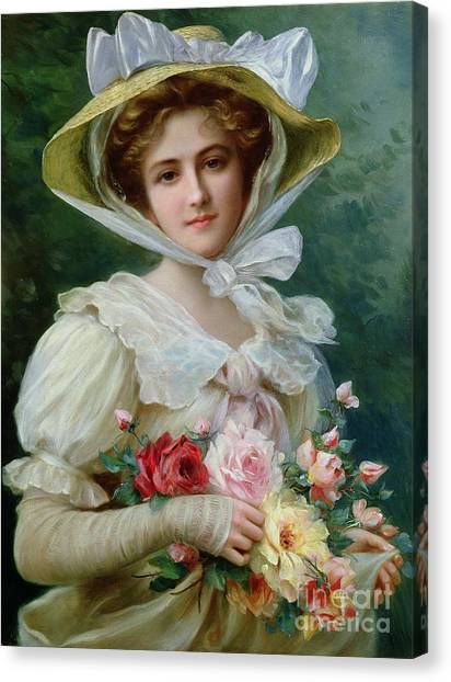 Rose In Bloom Canvas Print - Elegant Lady With A Bouquet Of Roses by Emile Vernon