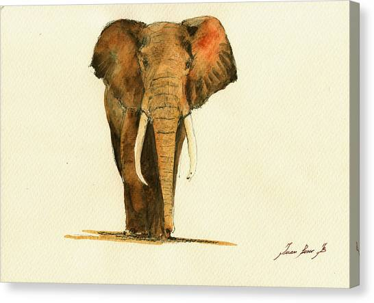 Elephants Canvas Print - Elephant Watercolor by Juan  Bosco