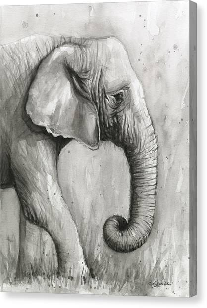 Black and white elephant canvas print elephant watercolor by olga shvartsur