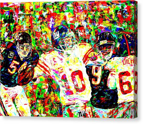 Brian Urlacher Canvas Print - Eli Manning by Mike OBrien