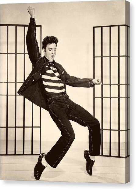1950s Movies Canvas Print - Elvis Presley In Jailhouse Rock 1957 by Mountain Dreams