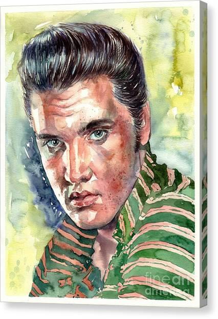 Elvis Presley Canvas Print - Elvis Presley Portrait by Suzann's Art