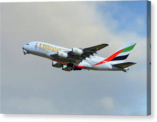 Airlines Canvas Print - Emirates Airbus A380-861 by Smart Aviation