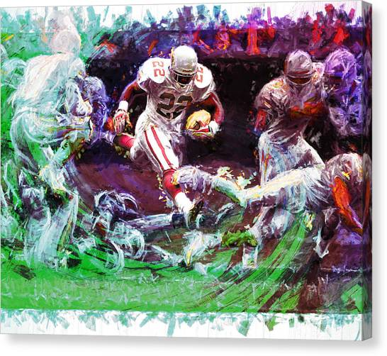 Dallas Cowboys Cheerleaders Canvas Print - Emmitt Smith Dallas Cowboys Digital Painting  by David Haskett II