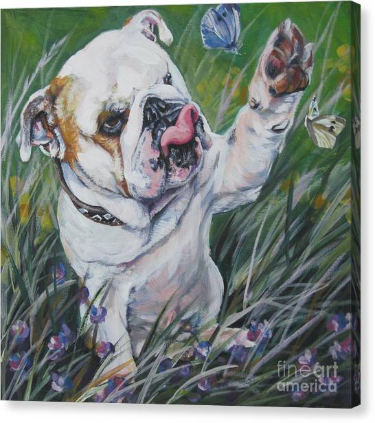 Cabbage Canvas Print - English Bulldog by Lee Ann Shepard