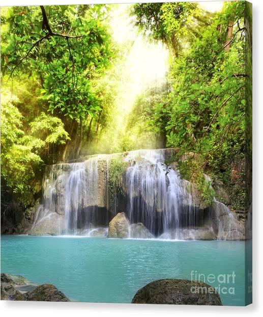 Erawan Waterfall Canvas Print by Anek Suwannaphoom
