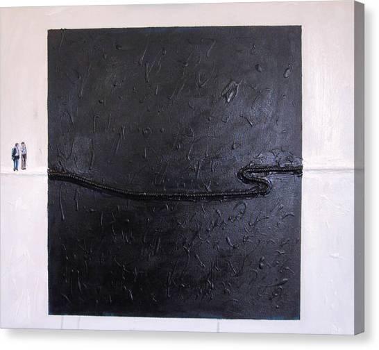 Explaining Modern Art Standing On An Elegant Line Canvas Print by Kevin Callahan