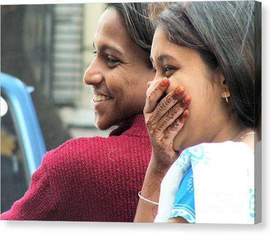 Faces Of India - Happy Couple Canvas Print by Steve Rudolph