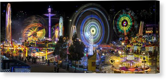 Canvas Print featuring the photograph Fairground Attraction Panorama by Ray Warren