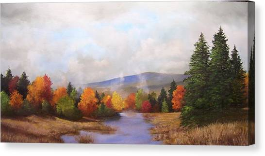 Fall Pond Scene Canvas Print by Ken Ahlering