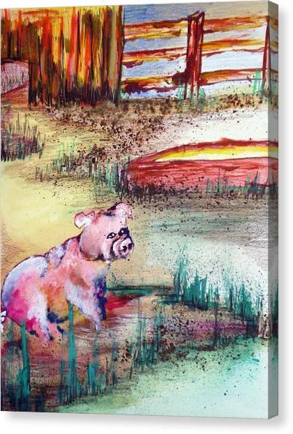 Farm Piggy Canvas Print by Tammera Malicki-Wong