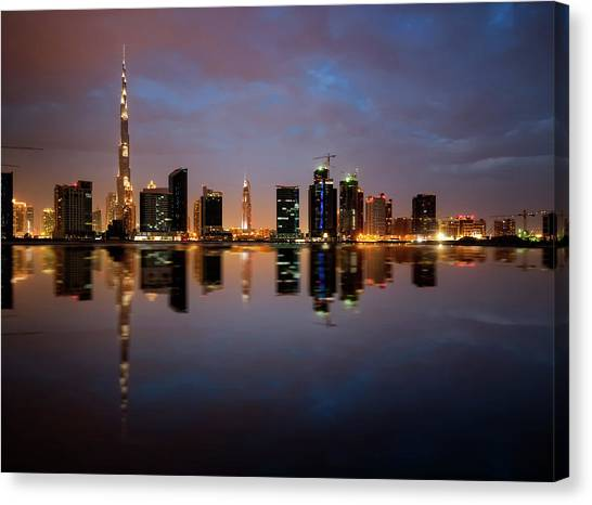 Fascinating Reflection Of Tallest Skyscrapers In Bussiness Bay D Canvas Print