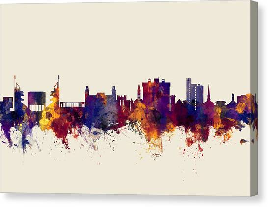 University Of Arkansas University Of Arkansas Canvas Print - Fayetteville Arkansas Skyline by Michael Tompsett