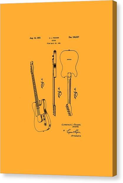 Fender 1951 Electric Guitar Patent Art - B  Canvas Print