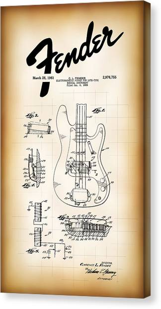 Guitar Picks Canvas Print - Fender Bass Electric Guitar Patent 1961 by Daniel Hagerman