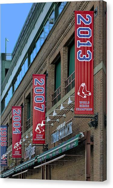 Fenway Park Canvas Print - Fenway Boston Red Sox Champions Banners by Susan Candelario