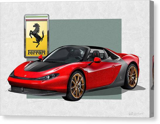 Automobiles Canvas Print - Ferrari Sergio With 3d Badge  by Serge Averbukh