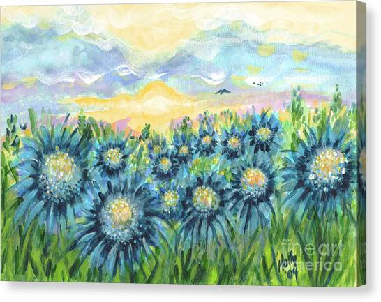 Field Of Blue Flowers Canvas Print