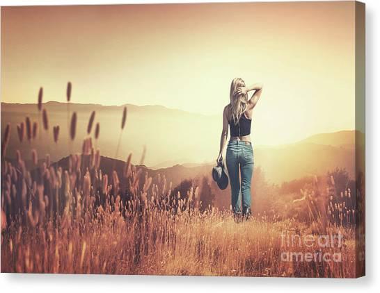 Cowboy Canvas Print - Fields Of Gold by Evelina Kremsdorf