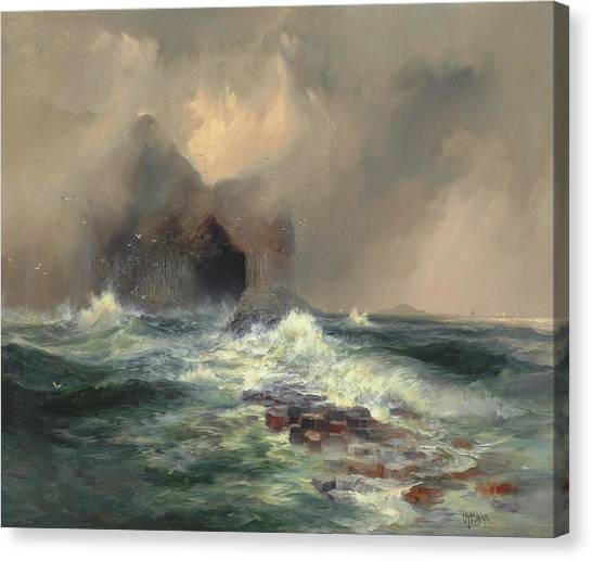 Mountain Caves Canvas Print - Fingals Cave, Island Of Staffa, Scotland by Thomas Moran