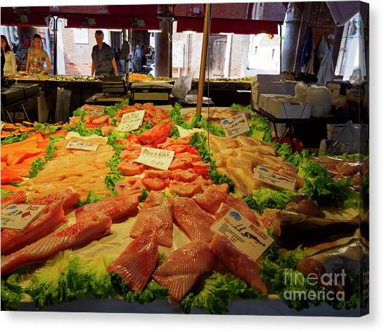 Fillet Canvas Print - Fish Market In Venice Italy by Louise Heusinkveld