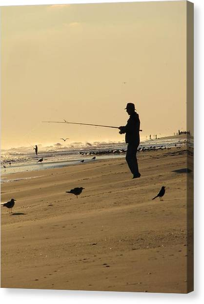 Fishing Poles Canvas Print - Fisherman by Laura Henry
