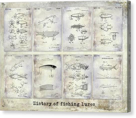 Fishing Poles Canvas Print - Fishing Lure Patent History by Jon Neidert