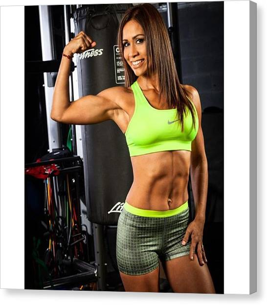 Gym Canvas Print - Fitness Trainer @carlamagallanes by Juan Silva