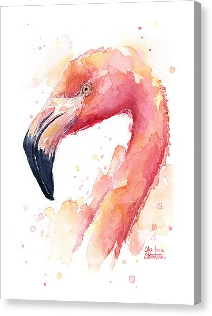 Tropical Birds Canvas Print - Flamingo Watercolor by Olga Shvartsur