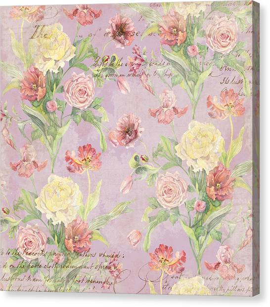 Fleurs De Pivoine - Watercolor In A French Vintage Wallpaper Style Canvas Print