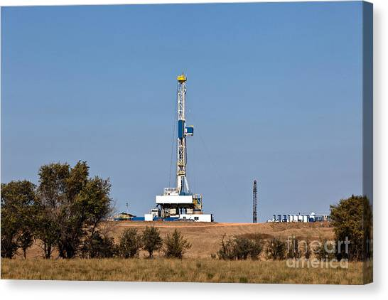 Fracking Canvas Print - Flex Drill Rig, Williston Basin by Inga Spence