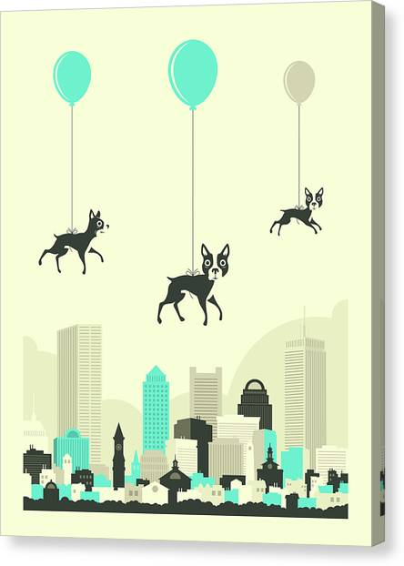 Boston Skyline Canvas Print - Flock Of Boston Terriers by Jazzberry Blue