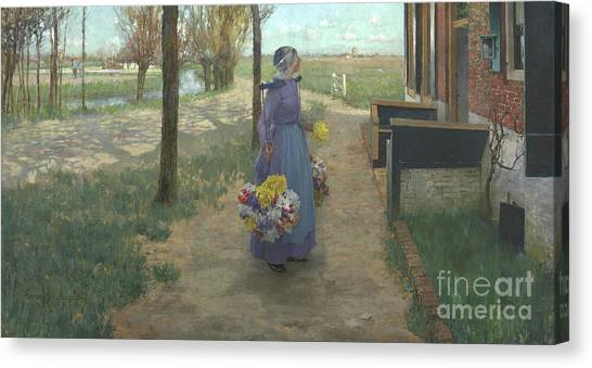 Girl In Landscape Canvas Print - Flower Girl In Holland by George Hitchcock