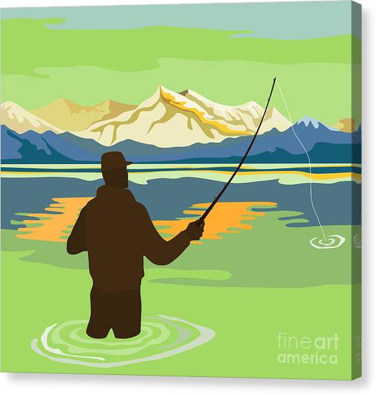 Fishing Canvas Print - Fly Fisherman Casting by Aloysius Patrimonio