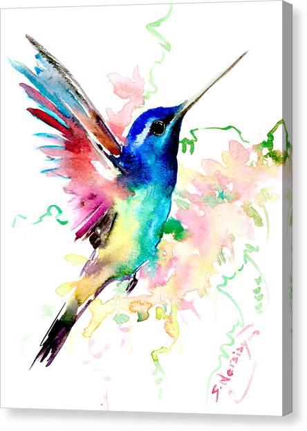 Flying Hummingbird Canvas Print