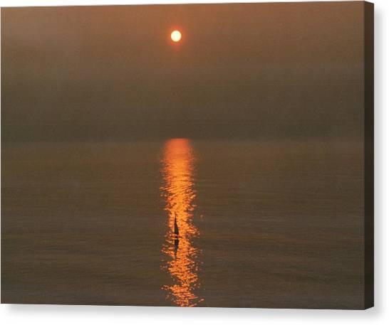 Foggy Sunrise On Virginia Beach Canvas Print
