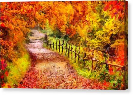 Fall Foliage Path 2 Canvas Print