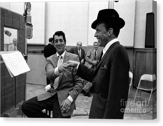 Frank Sinatra Canvas Print - Frank Sinatra And Dean Martin At Capitol Records Studios 1958. by The Titanic Project