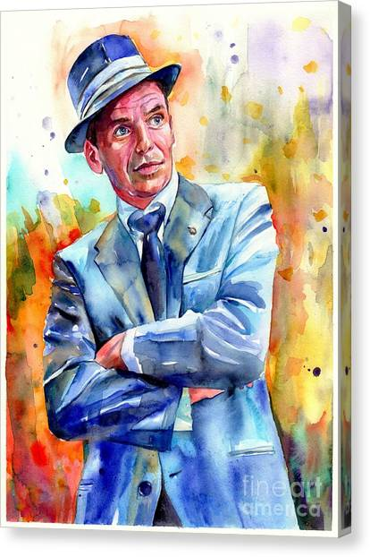 Fauvism Canvas Print - Frank Sinatra Young Painting by Suzann's Art