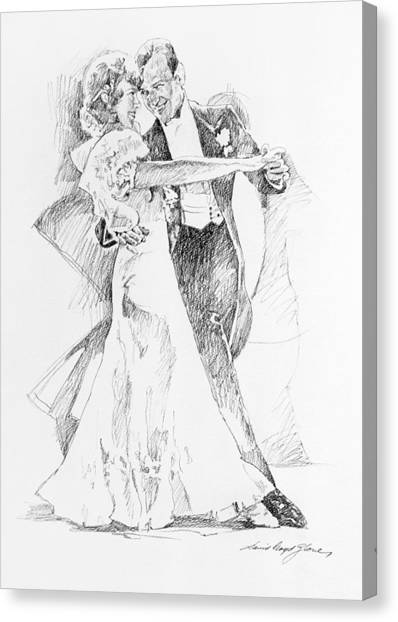 Tuxedo Canvas Print - Fred And Ginger Top Hat by David Lloyd Glover