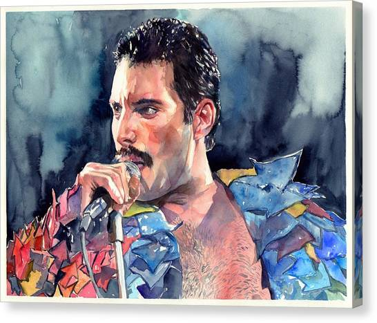 Mercury Canvas Print - Freddie Mercury Portrait by Suzann's Art