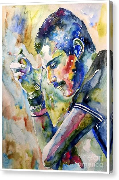 Mercury Canvas Print - Freddie Mercury Watercolor by Suzann's Art