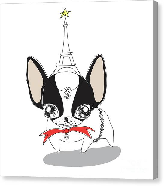 French Bull Dogs Canvas Print - French Bulldog  by Atiketta Sangasaeng