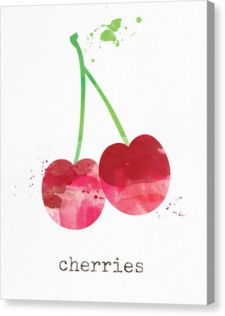 Fruits Canvas Print - Fresh Cherries by Linda Woods