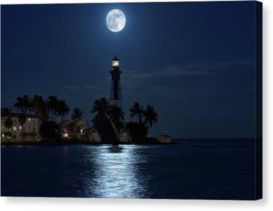 Full Moon Over Hillsboro Lighthouse In Pompano Beach Florida Canvas Print