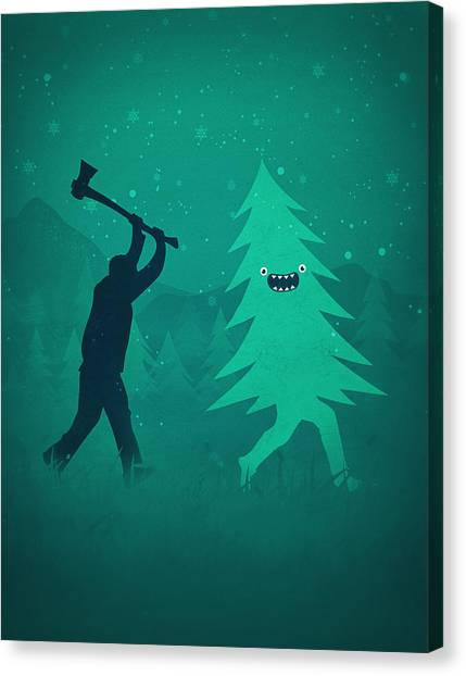 Axes Canvas Print - Funny Cartoon Christmas Tree Is Chased By Lumberjack Run Forrest Run by Philipp Rietz